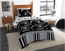 Oakland Raiders NFL Twin Comforter & Sheet Set (4 Piece Bed in A Bag)