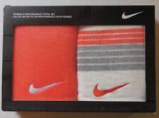 Nike Women's Performance Towel Sail/Wolf Grey/Light Wild Mango Set of 2 New