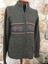 Field Gear NORDIC Fair Isle Style Knit Full Zip Sweater Jacket Wool Blend size L