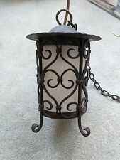 Vintage Wrought Iron Hanging Ceiling Candle Lamp porch black glass