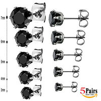5 Pair Set of Stainless Steel BLACK Round  Cubic Zirconia Stud Earring Men women