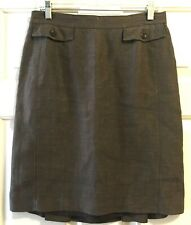 Ann Taylor Brown Olive Hue Linen Blend Knee Length Womens Career Skirt 8 Medium