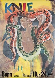 Original Vintage Poster Hans Erni Swiss Knie Circus Bern Snakes 1989