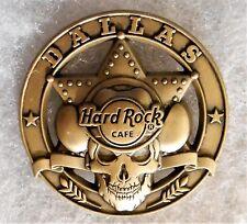 HARD ROCK CAFE DALLAS 3D BRONZE TEXAS RANGER BADGE WITH SKULL PIN # 97416