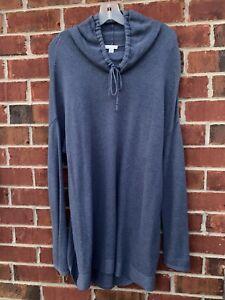J. Jill Pure Jill Womens Sweatshirt Size Large Blue Waffle Knit Henley Shirt