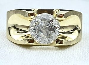 2.36 ct  DIAMOND mens solitaire pinky ring SOLID 14k yellow gold (SEE VIDEO)
