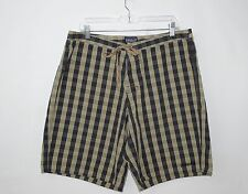 "Men's PATAGONIA Organic Cotton Board Shorts (Brown Plaid) Size 35 x 10"" Inseam"