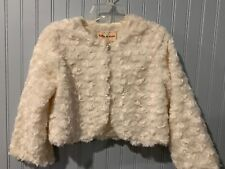 Toffee Apple Curly Ivory Faux Fur Jacket Size 4Y~NWT Reg $24.99