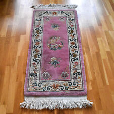 Super Washed Chinese Handmade Vintage Traditional Oriental Wool Rug 150 X 60cm