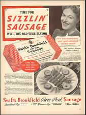 1940 Vintage ad for Swift's Brookfield Sausage`Retro Package Plate   (050117)