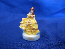 BELLE in BRIGHT YELLOW GOWN French Porcelain Feves GOLD Figurine DISNEY PRINCESS