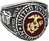 MARINE CORPS RUBY MILITARY WHITE GOLD RING ALL SIZES 8 9 10 11 12 13 FREE SHIP