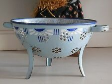 Very Rare Antique French Enamelware DRAINER / STRAINER  - ART DECO style 1920