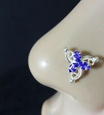 Indian Nose Ring Silver Nose Piercing Sapphire Stone Nose Ring Flower Nose Stud