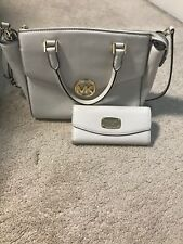 Michael Kors Hudson Vanilla Satchel Handbag WITH matching Wallet