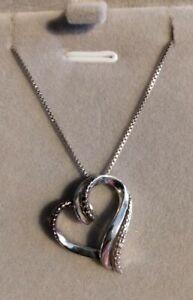 VTG Genuine White & Black Diamond Pendant/Necklace-925 Sterling Silver-Hearts