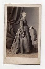CDV PHOTO ANCIENNE Femme Livre Robe DURAND LYON Vers 1870 Rideau Mode