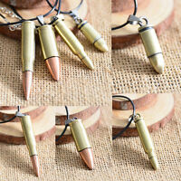 Unisex Necklace Steel Bullet Pendant Necklace Chain Retro Jewelry Charm