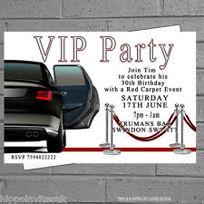 Vip Limo Birthday Party Celebration Invitations x 12 with free envelopes H0156