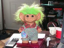 "Uneeda 8"" Troll Green Hair Wishnik Doll with Farmer Overalls, Red Plaid Shirt"