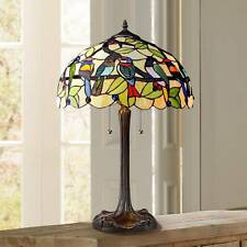 Tiffany Style Table Lamp Traditional Bronze Stained Glass for Living Room