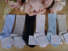 Knee High Baby Boy Ribbed White Blue Navy Socks Occasion 0-2/3-5.5/6-8.5 UK Made