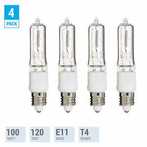 4 Pack Q100CL/MC Halogen Clear Bulb 100 Watt JD T4 Dimmable Mini Candelabra E11