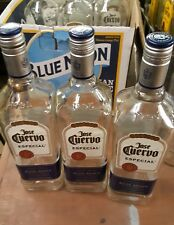 Lot of 3 Empty 1 Liter Glass Jose Cuervo Silver Tequila Bottles With Caps