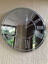 SILVER SPARKLE GLITTER MIRRORED WALL CLOCK ROMAN NUMBER GLASS WALL CLOCK NEW
