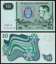 SWEDEN 10 KRONOR 1968 P52b REPLACEMENT UNCIRCULATED