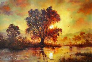 Original Oil Painting On Canvas - Landscape - Lake Sunset
