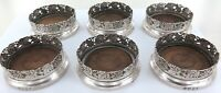 .QUALITY / DECORATIVE / ANTIQUE SILVERPLATE SET 6 WINE GLASS COASTERS.