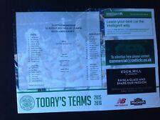 2015/16 Celtic v Ross County August teamsheet