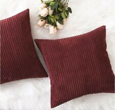Set of 2 Burgundy Striped Plush Corduroy Square Throw Pillow Cover 18x18 in