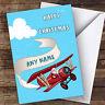 Santa Flying Aeroplane Hobbies Personalised Christmas Card