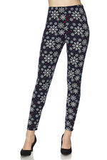 ONE SIZE Buttery Soft Always Brushed Navy Snowflake Leggings TC/O108