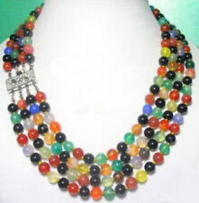 4 Row 8mm Multicolor Red Black Green Yellow Agate Jade WGP Flower Clasp Necklace