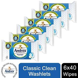 6 packs Andrex Washlets Classic Clean Flushable 240 Toilet Wipes