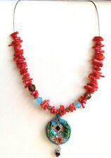 """Coral Cloissonne Flower Necklace Choker 16-18"""" Aqua Red Pendant Vintage Stock"""