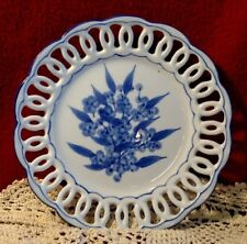 Vintage Wmg 2007 Decorative Blue & White Ceramic Wall Hanging Plate 7 In, Woven