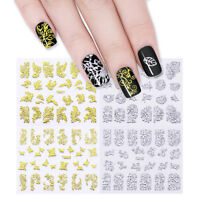 12 Sheets Metallic Gold Silver 3D Nail Art Decals Stickers Manicure Decoration