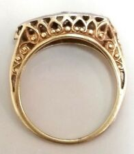 Antique Filigree 14k Yellow Gold Triple Diamond Cocktail Ring Size 5.75 0.25 TCW
