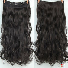 100% Natural Curly Wavy Clip In Hair Extensions 5 Clips Real As Human Hair Piece