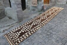 "Vintage Handmade Turkish Neutral Oushak Runner Rug 11'11""x2'6"""