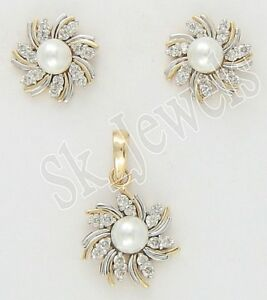 1.27CT NATURAL ROUND DIAMOND 14K SOLID YELLOW GOLD PEARL PENDANT SET