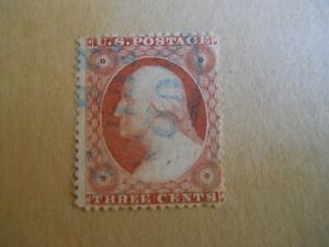 Scott  # 26 3c Wash / Light Blue Octagonal CDS Town Fancy Cancel / No Faults