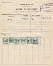 1967 Southern Rhodesia Record of Employees Personal Tax Revenue Document.