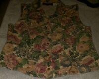 Orvis Cotton Floral Tapestry Print Size Medium vest women's