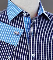 Mens Blue Plaids & Checks Dress Shirt Designer Contrast French Cuffs & Collar