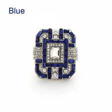 Pop Antique Art Deco Large Jewelry Sterling Silver Blue Sapphire & Diamond Ring